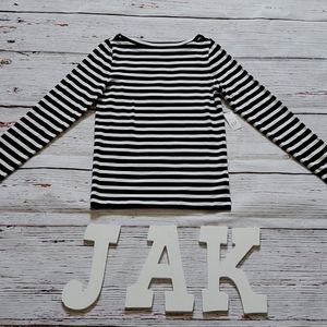 🆕️ GAP WOMENS BLACK & WHITE STRIPE L/S MODERN TEE